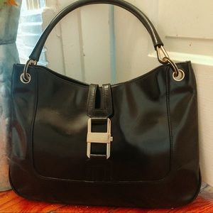 GUCCI black leather vintage handbag 😍